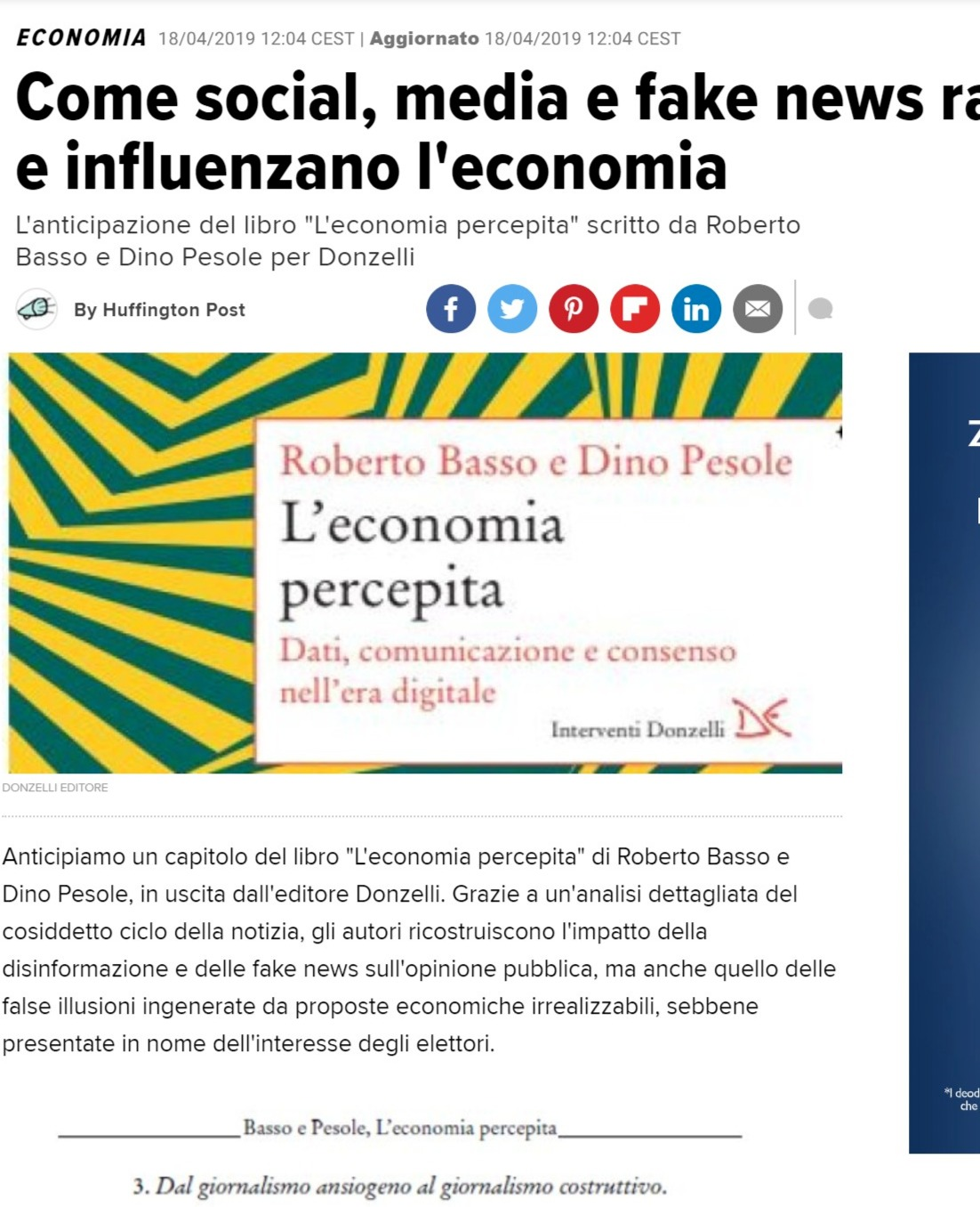 Screenshot of Come social, media e fake news raccontano e influenzano l'economia _ L'Huffington Post